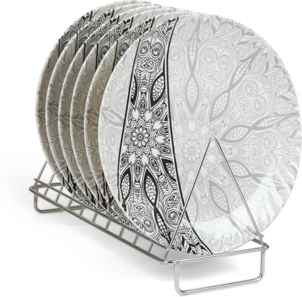Golden Fish Printed Melamine Full Size Round Dinner Plate (Set of 6; 11 Inches) Dinner Plate