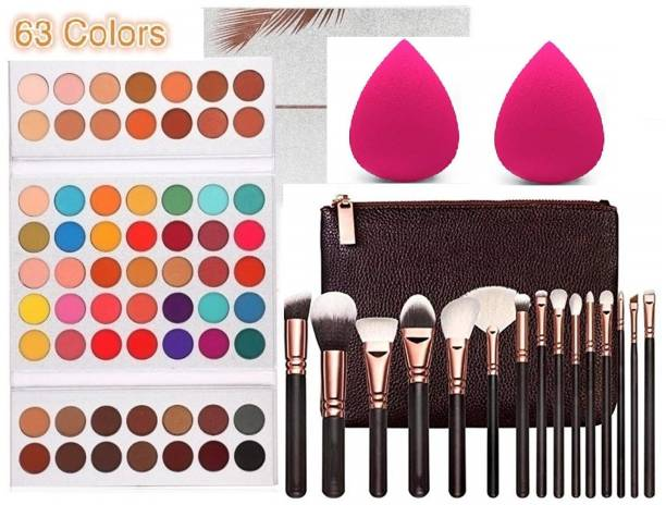 D.B.Z. Gorgeous Eyeshadow, Beauty Blender Puff & High Quality 15 pc Brushes set
