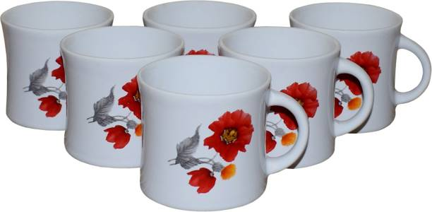 KC Somny Pack of 6 Ceramic Floral Print Coffee Cup & Tea Cup Set of 6 (AE1D1B)