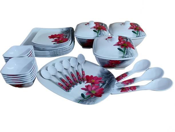 Hamlay Pack of 40 Melamin Red Marigold Dinner Set