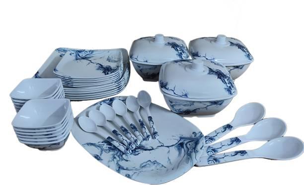 Hamlay Pack of 40 Melamin Blue Marbel Dinner Set