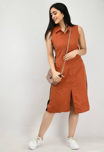 ALISHA FASHION Women Shirt Brown Dress