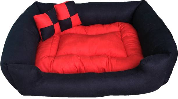 VetKart Velvet Rectangular Comfy Check Bed with Reversible Cushion and Pillow for Dog/Cat XXL Pet Bed