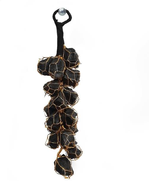 Shubhanjali Black Tourmaline Rough Chunks Vaastu Door Hanging Decorative Showpiece  -  19 cm