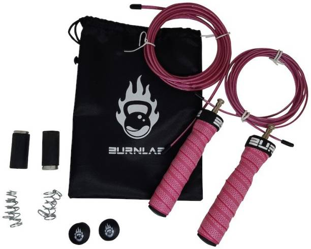 Burnlab Anti slip Adjustable Skipping Rope Pro (Power Plus (Pink)) Weighted Skipping Rope