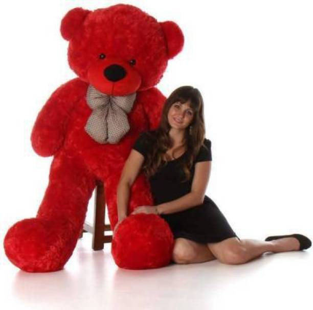 LittleBuoy Red Teddy Bear 5 feet Stuffed Animals Plush Toy Doll for Girlfriend Children  - 150 cm