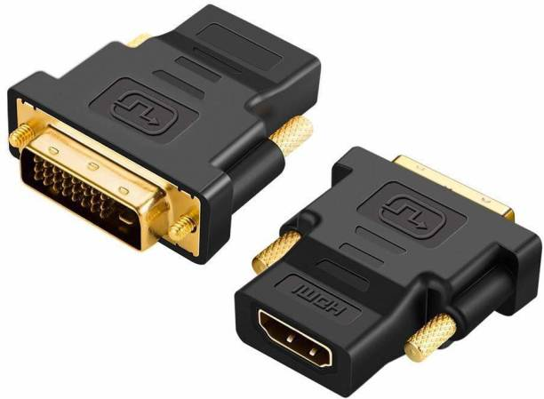 TECHON  TV-out Cable HDMI Female to DVI-D Male adpater, gold plated (Black, For Computer)