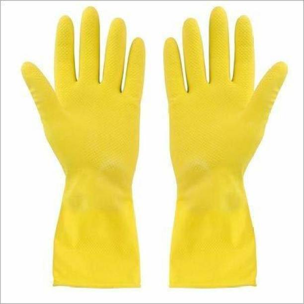 KIRMESH FASHION Reusable Rubber Stretchable Hand Gloves, for Washing Cleaning Kitchen Garden