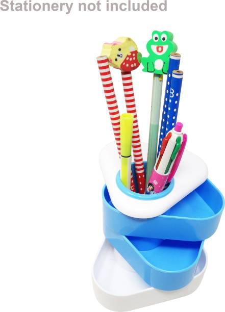 Parteet 7 Compartments Plastic Pen Stand