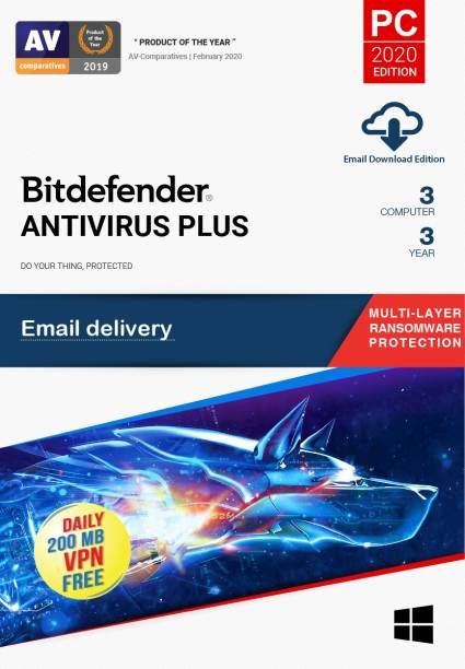 bitdefender 3 PC 3 Years Anti-virus (Email Delivery - No CD)