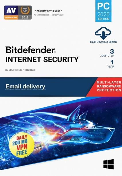 bitdefender 3 PC 1 Year Internet Security (Email Delivery - No CD)