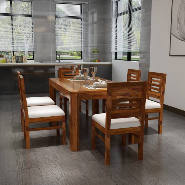 Allie Wood Solid Wood 6 Seater Dining Set
