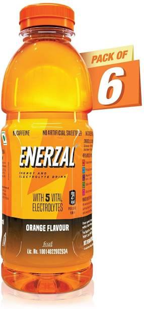 Enerzal Energy Drink Orange Flavour Liquid 500ml (Pack of 6) Energy Drink