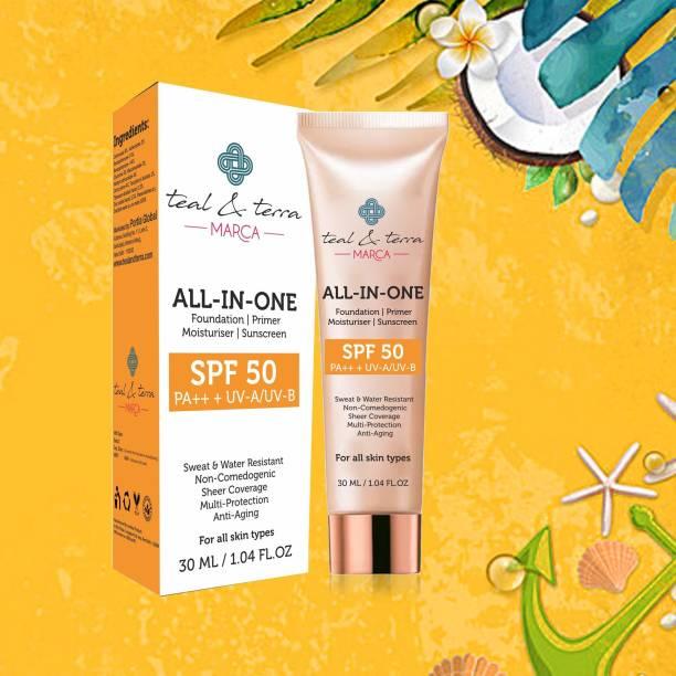 Teal & Terra All-In-One Mineral Sunscreen SPF 50 + Foundation + Primer + Moisturiser Face Cream, 30ml Foundation