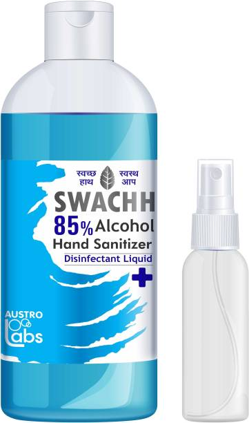 Austro Labs HAND SANITIZER SPRAY LIQUID - REFILL PACK (500 ML) WITH EMPTY HAND SANITIZER SPRAY BOTTLE – 60 ML Sanitizer Spray Bottle