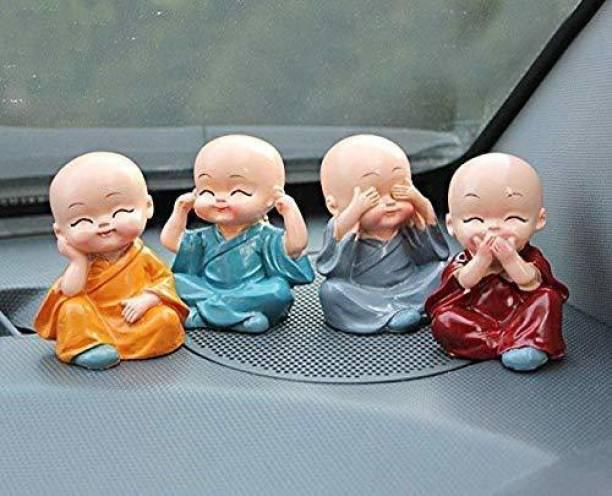 Rajcrafts Set of 4 Baby Monk Hat Buddha Figurines - for Car Dashboard | Home Decor| Office Decor| Gifting for Pregnant Women| Diwali Decor| Vaastu Decor| Fengshui Decorative Showpiece  -  6 cm