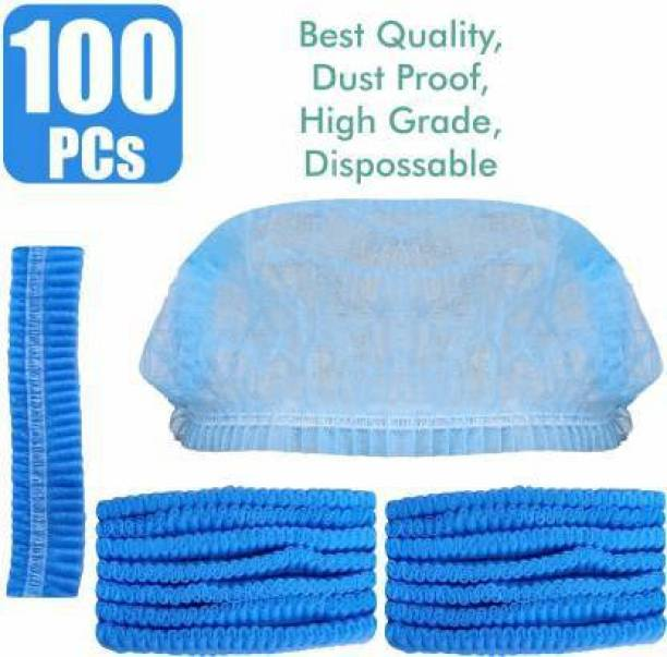 EVERGREEN HINDUZA Stretchable Blue Surgical Head Caps - Cover Hair For Surgeries, Cooking & Hygiene Surgical Head Cap