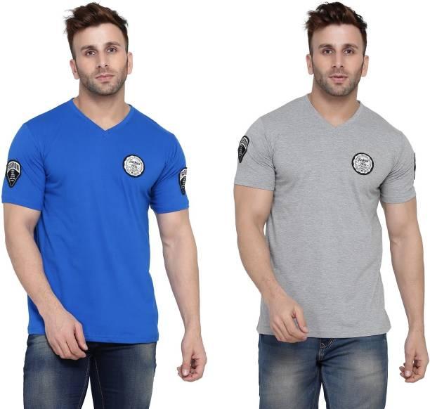 BEYOU FASHION Solid Men V Neck Silver, Blue T-Shirt