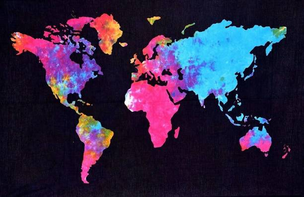 Art World World Map Boho Psychedelic Bohemian Tapestry Cotton Printed Wall Hanging Cotton Artwork Poster World Map Boho Psychedelic Tapestry