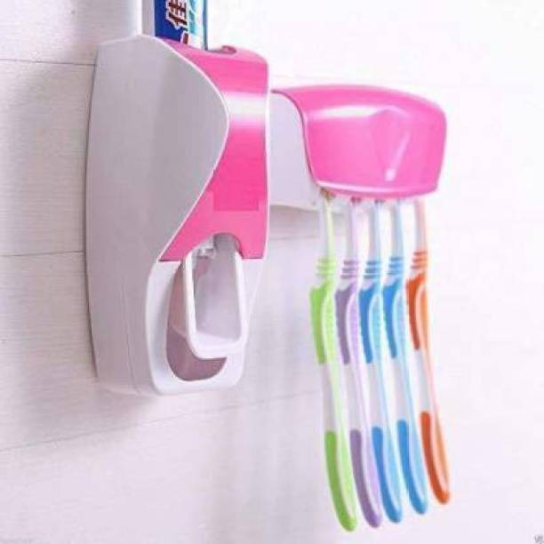 POWERQUALIS Automatic Toothpaste Dispenser Plastic Toothbrush Holder Plastic Toothbrush Holder