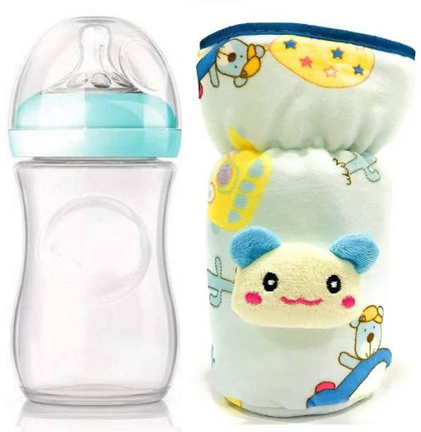 Manan Shopee New Born Baby Wide Neck Milk Feeding Bottle/Feeder with Bottle cover
