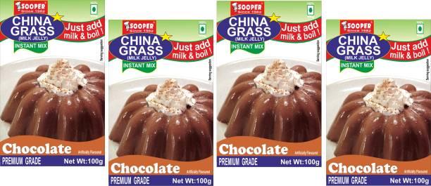 SOOPER CHINA GRASS CHOCOLATE 100g X 4 PACKS Jelly Powder