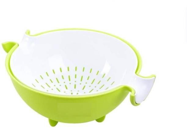VIS VARSHA INDOTECH SALES Multipurpose Fruit and Vegetable Basket Soak, Wash, Rinse, Smart Strain & Store Rinse Bowl and Strainer Cum Basket Plastic Food Rinse Bowl Collapsible Strainer