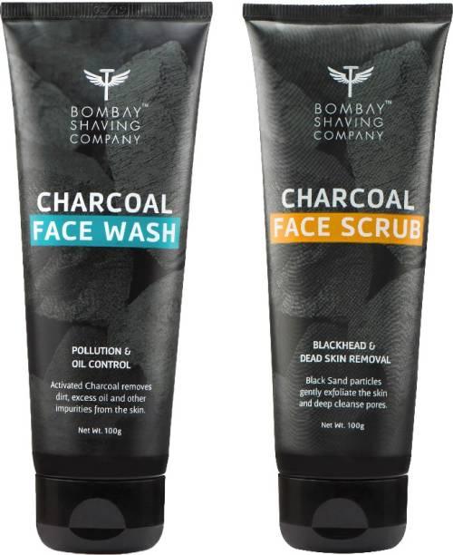 BOMBAY SHAVING COMPANY Chacoal Face Wash-100g & Charcoal face Scrub-100g Combo
