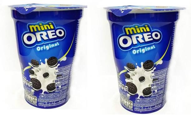 OREO Mini Cream Biscuit - Original Vanilla Flavor, 61.3g Cup (Pack of 2) Cream Filled