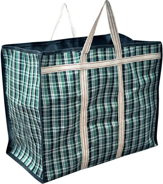 sanjis Multipurpose Super Jumbo Big Heavy Duty Toy Clothes Files Picnic Shopping Storage Organizer Grocery Vegetable Canvas Bag with Strong Handles and Strong Base with Open Top(25x15x21)