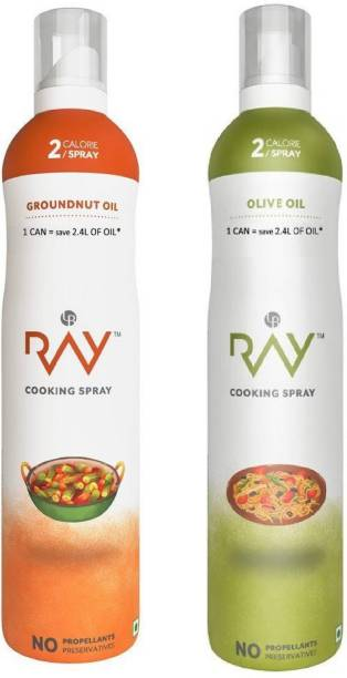 RAY Healthy Cooking Spray -Refined Groundnut OIL 200 ml & Refined Olive OIL - 200 ml( 2 Calories/spray) Groundnut Oil Can