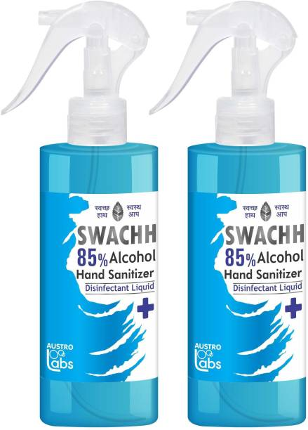 Austro Labs SWACHH 85 HAND SANITIZER SPRAY LIQUID - 230 ML* 2 PC Sanitizer Spray Pump Dispenser