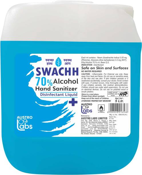 Austro Labs SWACHH 70 HAND SANITIZER SPRAY LIQUID - REFILL PACK 5 LTR (5000 ML) (5 LITER) Hand Sanitizer Can