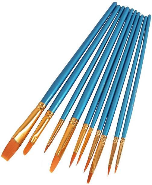 chitrakala 10Pieces Round Pointed Tip Nylon Hair Brush Set
