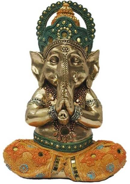 Lemon Tree Handcrafted Ganesha Figure (Antique Golden with Orange) Decorative Showpiece  -  25 cm
