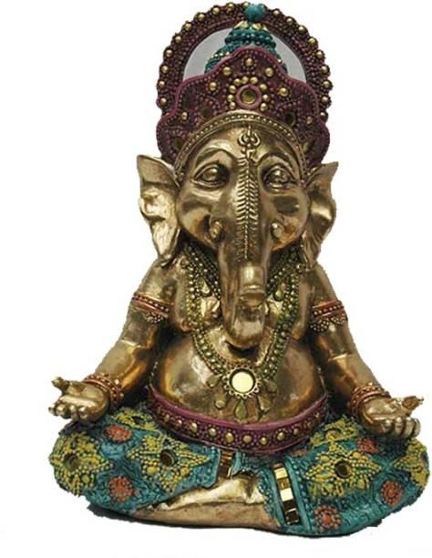 Lemon Tree Handcrafted Ganesha Figure (Antique Golden with Blue) Decorative Showpiece  -  25 cm