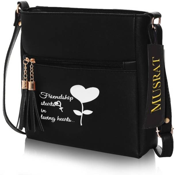 MUSRAT Black Sling Bag Latest Trend Party Wear Handbag & Sling Bag with Adjustable Strap for Girls and Women's