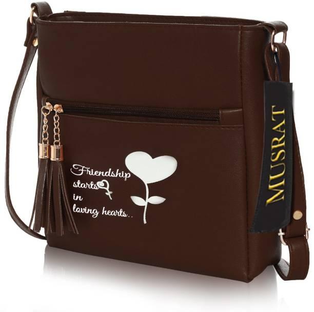 MUSRAT Brown Sling Bag Latest Trend Party Wear Handbag & Sling Bag with Adjustable Strap for Girls and Women's