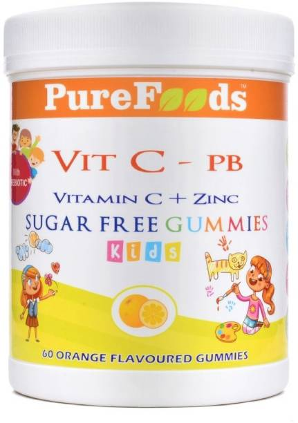 PureFoods Vit C-PB Vitamin C + Zinc Sugar Free Gummies For Kids with Prebiotics