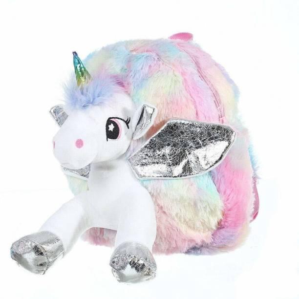 okji enterprises Kids Unicorn Mini Soft Fur Plush Bacpack for Girls Aged 2-4 Backpack
