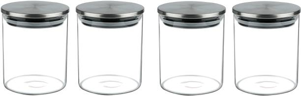 VIENSTAR Glass Air-Tight Jars with Stainless Steel Lid 650ml Perfect for Dryfruits,Biscuits,Cookies & Candys,Spices,Flacks,Muesli,Cereal,Pickles (2)  - 650 ml Glass Utility Container
