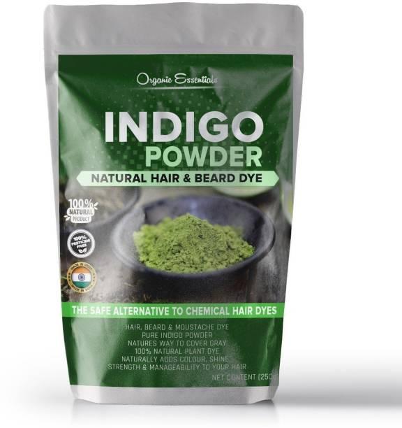 Organic Essentials Indigo Powder For Hair & Beard Dye - Black