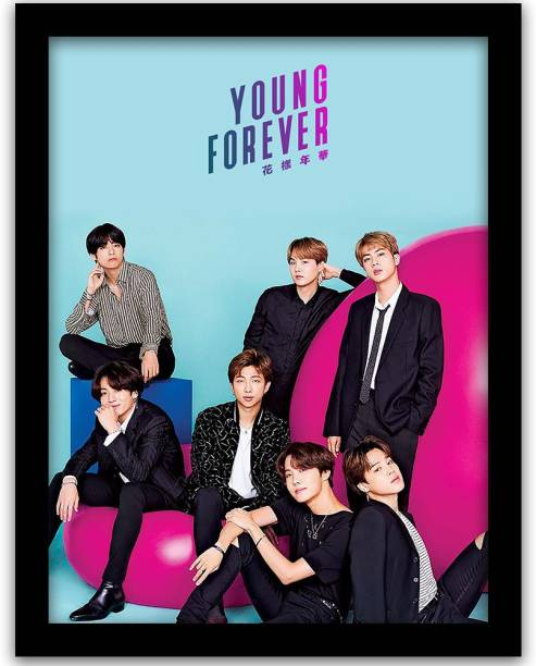 BTS Bangtan Boys Wall Frame | BTS BAND MEMBERS forever Young Wall Poster With Glass Frame Paper Print