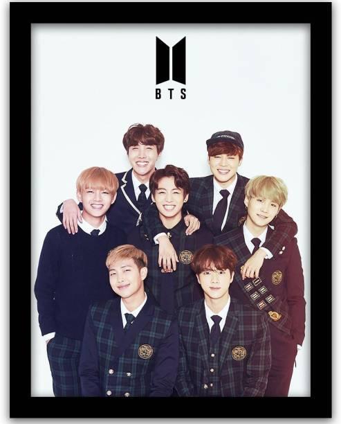 BTS Bangtan Boys Wall Frame | BTS BAND MEMBERS Framed Wall Poster Paper Print
