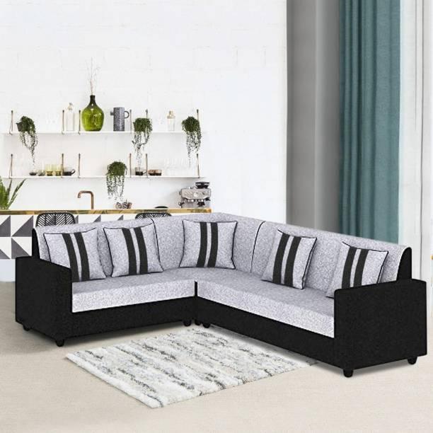 FURNY Cosmosito Corner L shape sofa set Fabric 6 Seater  Sofa