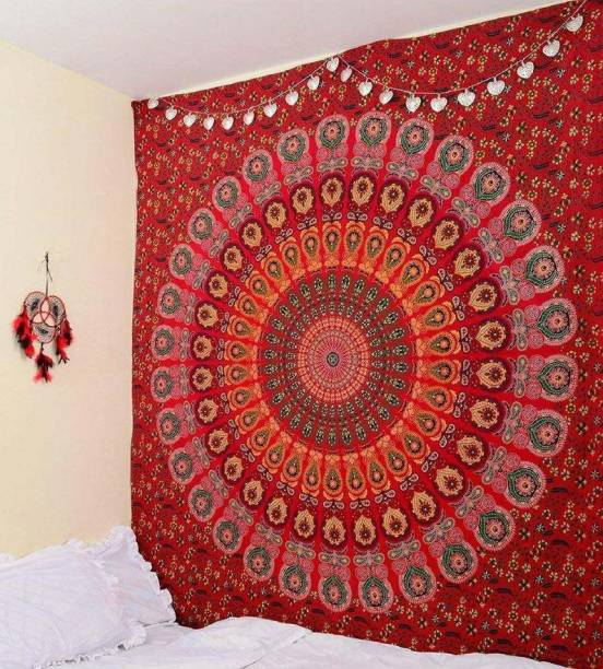 D K Lifestyles Traditional Jaipuri Printed Mandala Tapestry Decoration Bedsheet Bedcover RR777 Wall Hanging Tapestry