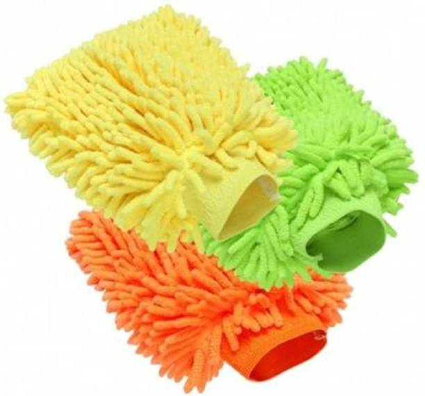 poksi microfiber Duster Wet Dry Cotton Cleaning Cloth Wet and Dry Glove Set