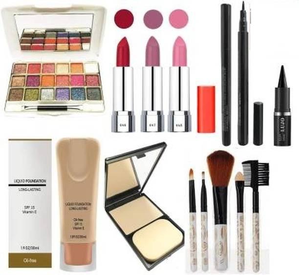 villosa 18 metallic eyeshadow + 3 matte lipsticks + 1 sketchpen eyeliner + 1 dual foundation + 1 compact + 5 makeup brushes Holiday series makeup kit -A 013 (SET OF 13) (14 Items in the set)