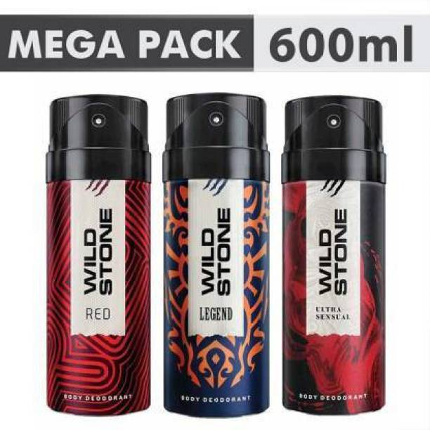Wild Stone Ultra Sensual , Red & legend (200 ml Each) Deodorant Spray  -  For Men