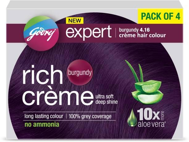 Godrej Expert Creme Hair Colour - BURGUNDY Pack of 4 , BURGUNDY